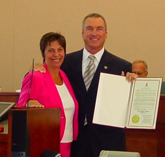 Andy Jessup, Jr. accepts the Jessup Auto Plaza 72nd Anniversary Proclamation from City of Cathedral City Mayor Kathleen DeRosa